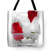 Red Versus White Roses Tote Bag by Andee Design