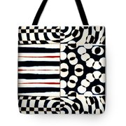 Red White Black Number 4 Tote Bag by Carol Leigh