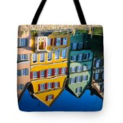 Reflection Of Colorful Houses In Neckar River Tuebingen Germany Tote Bag by Matthias Hauser