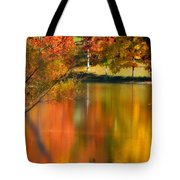 Reflection  Of My Thoughts  Autumn  Reflections Tote Bag by Peggy  Franz