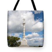Revolutionary War Monument At Yorktown Tote Bag by John Bailey