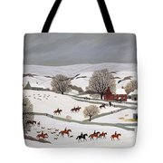 Riding In The Snow Tote Bag by Vincent Haddelsey