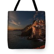Riomaggiore Peaceful Sunset Tote Bag by Mike Reid