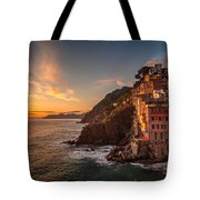 Riomaggiore Rolling Waves Tote Bag by Mike Reid