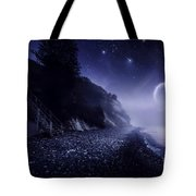 Rising Moon Over Ocean And Mountains Tote Bag by Evgeny Kuklev