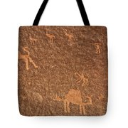 Rock Art At Wadi Rum In Jordan Tote Bag by Robert Preston