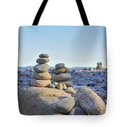 Rock Piles Zen Stones Little Hunters Beach Maine Tote Bag by Terry DeLuco