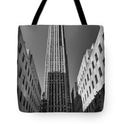 Ge Building In Black And White Tote Bag by Dan Sproul