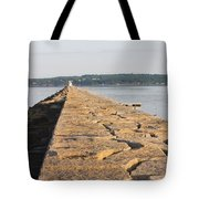 Rockland Breakwater Lighthouse Coast Of Maine Tote Bag by Keith Webber Jr
