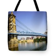 Roebling Bridge In Cincinnati Ohio Tote Bag by Paul Velgos