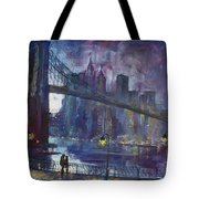 Romance By East River Nyc Tote Bag by Ylli Haruni