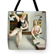 Rooftop Annunciation Two Tote Bag by Caroline Jennings