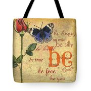 Roses And Butterflies 1 Tote Bag by Debbie DeWitt