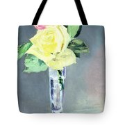 Roses In A Champagne Glass Tote Bag by Edouard Manet