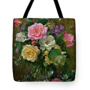 Roses in a glass vase Tote Bag by Albert Williams