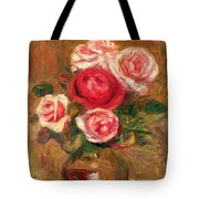 Roses In A Pot Tote Bag by Pierre Auguste Renoir