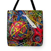 Rubber Band Ball With Sccisors Tote Bag by Garry Gay