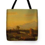 Ruins Of Paestum Tote Bag by Albert Bierstadt