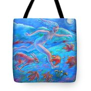 Running With The Hare Tote Bag by Trudi Doyle