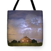 Rural Country Cabin Lightning Storm Tote Bag by James BO  Insogna