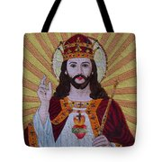 Sacred Heart Of Jesus Hand Embroidery Tote Bag by To-Tam Gerwe