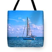 Sailing Off Of Key Largo Tote Bag by Chris Thaxter