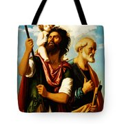 Saint Christopher With Saint Peter Tote Bag by Digital Reproductions
