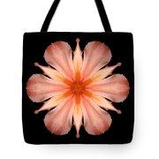 Salmon Daylily I Flower Mandala Tote Bag by David J Bookbinder