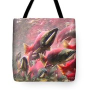 Salmon Run - Square - Painterly - 2013-0103 Tote Bag by Wingsdomain Art and Photography