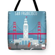 San Francisco Ferry Building Tote Bag by Karen Young