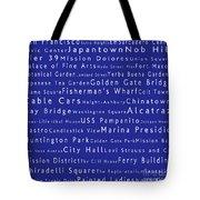 San Francisco In Words Blue Tote Bag by Sabine Jacobs