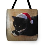 Santa Kitty Tote Bag by Cheryl Young