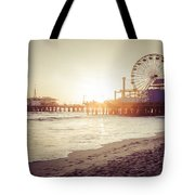 Santa Monica Pier Retro Sunset Picture Tote Bag by Paul Velgos