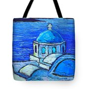 Santorini  Blue Tote Bag by Ana Maria Edulescu