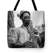 Saxophone Musician New Orleans Tote Bag by David Morefield