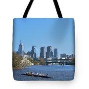 Schuylkill River Skulling Phila Pa Skyline Tote Bag by David Zanzinger