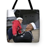 Seaman Greets His Son Tote Bag by Stocktrek Images