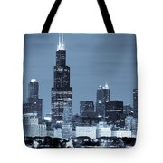 Sears Tower In Blue Tote Bag by Sebastian Musial