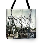 Seasoned Fishing Boat Tote Bag by Debra Forand