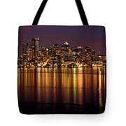 Seattle Night Reflections Tote Bag by Mary Jo Allen
