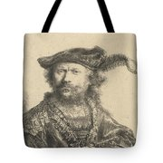 Self Portrait In A Velvet Cap With Plume Tote Bag by Rembrandt