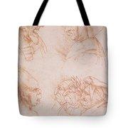 Seven Studies of Grotesque Faces Tote Bag by Leonardo da Vinci