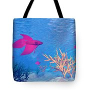Several Red Betta Fish Swimming Tote Bag by Elena Duvernay