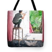 Shaping The Peace Listen With Music Of The Description Box Tote Bag by Lazaro Hurtado