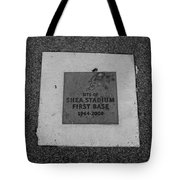 SHEA STADIUM FIRST BASE in BLACK AND WHITE Tote Bag by ROB HANS