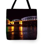 Shelby Street Bridge At Night Tote Bag by Dan Sproul