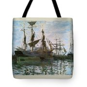 Ships In Harbor Tote Bag by Claude Monet - L Brown