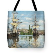 Ships Riding On The Seine At Rouen Tote Bag by Claude Monet