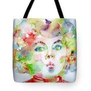 Shirley Temple - Watercolor Portrait.2 Tote Bag by Fabrizio Cassetta