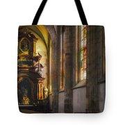 Side Chapel Of St Barbara Tote Bag by Joan Carroll